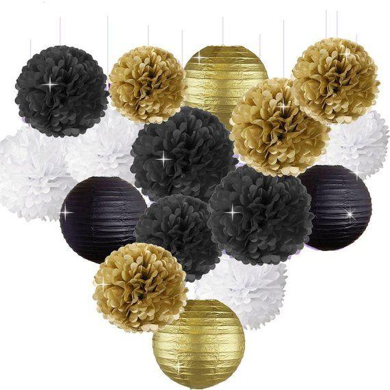 16pcs Party Decor Kit Gold Black White Tissue Paper Pom Poms Paper Lanterns for Wedding Baby Shower Graduation Party Decorations