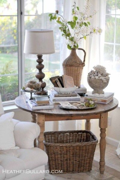 A large round table set to a corner can hold lighting, objects of art, flowers, books and that cup of tea. They provide an area underneath for baskets, suitcases, and trunks.