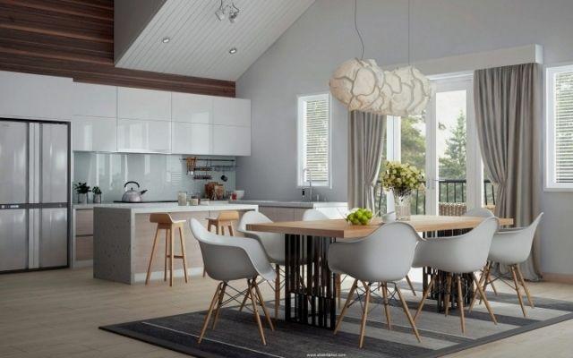 des rideaux de cuisine élégants en gris clair dans la cuisine moderne