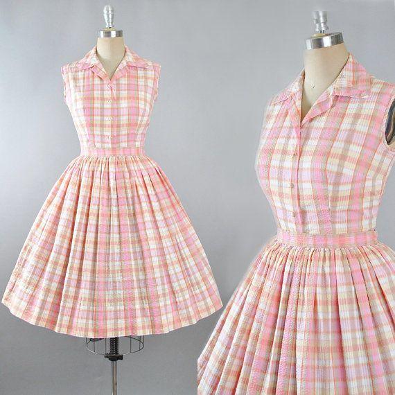 Vintage SundressPink Striped Mini SundressPink Cotton DressPink Sundress