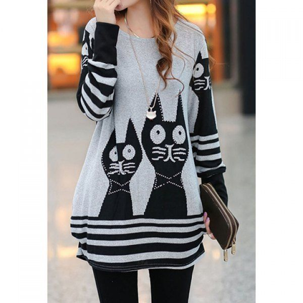 Wholesale Sweet Style Scoop Neck Striped Cat Print Long Sleeve Loose Fit T-Shirt For Women (LIGHT GRAY,ONE SIZE), Women's T-shirts - Rosewholesale.com