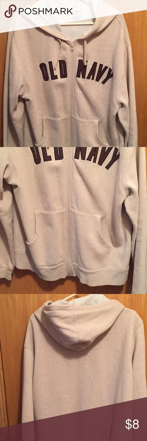 Old Navy zip up hoodie Old navy zip up hoodie with front pockets, non-smoking home, light tan with brown lettering Old Navy Shirts Sweatshirts & Hoodies