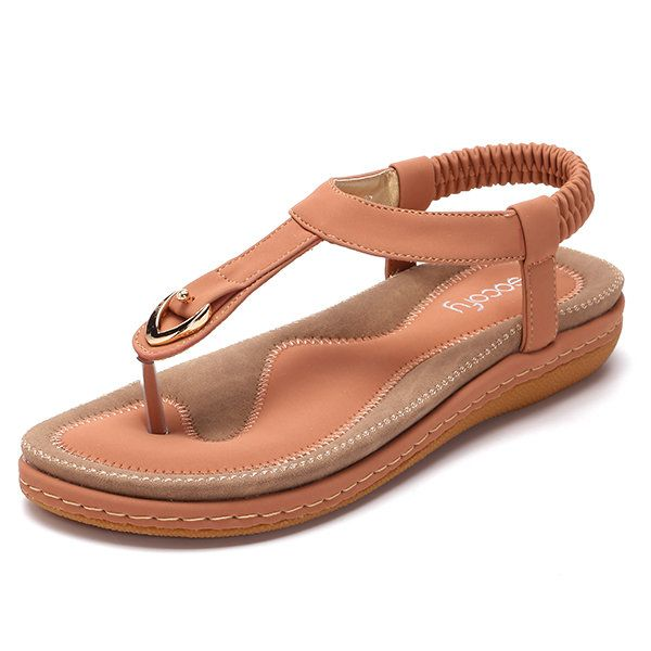 Sandálias de SOCOFY confortável de dedo Elástica com salto Plano de estilo de Praia