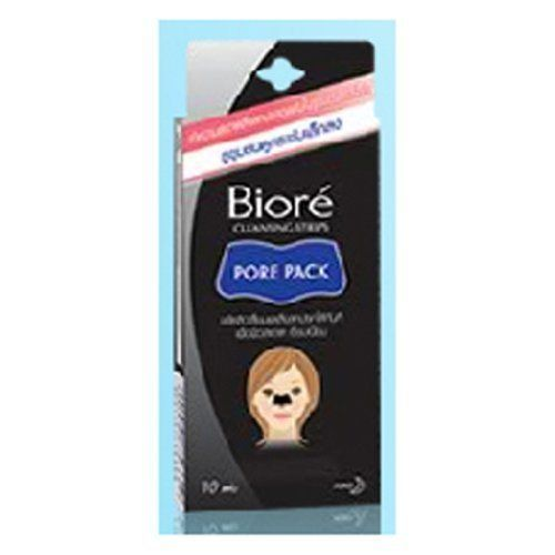 Biore Deep Cleansing Strips Pore Pack Black by Biore. $14.99. BIORE  Cleansing Strips    Pore Pack  Black  (10 Sachet)     Biore Pore Pack Black sheet removes clogs more effectively and visibly. Contains specially formulated oil absorbing powder. Additional slits on the strips for a better fit. How to use :  1. With dry hands, remove Pore Pack from sachet. With the plastic liner facing you, twist Pore Pack to separate slits. Peel Pore Pack off the plastic liner.  (After sachet ...