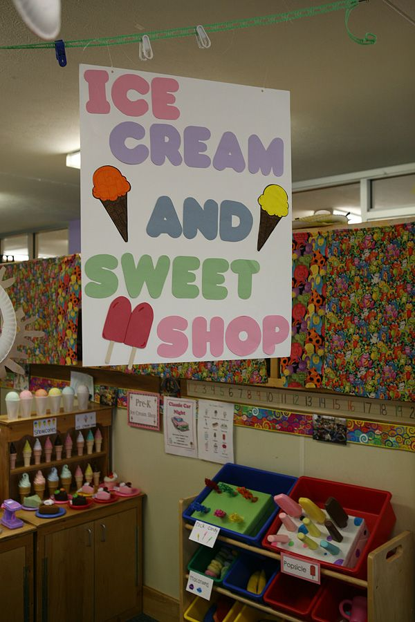 IIce cream and sweet shop in dramatic play.