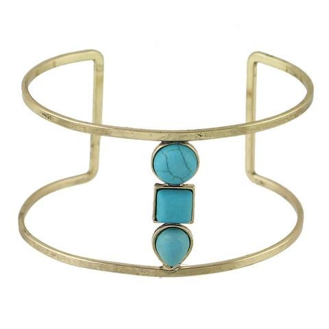 Boho Style Antique Gold  Silver With Turquoise Open Cuff Bracelets