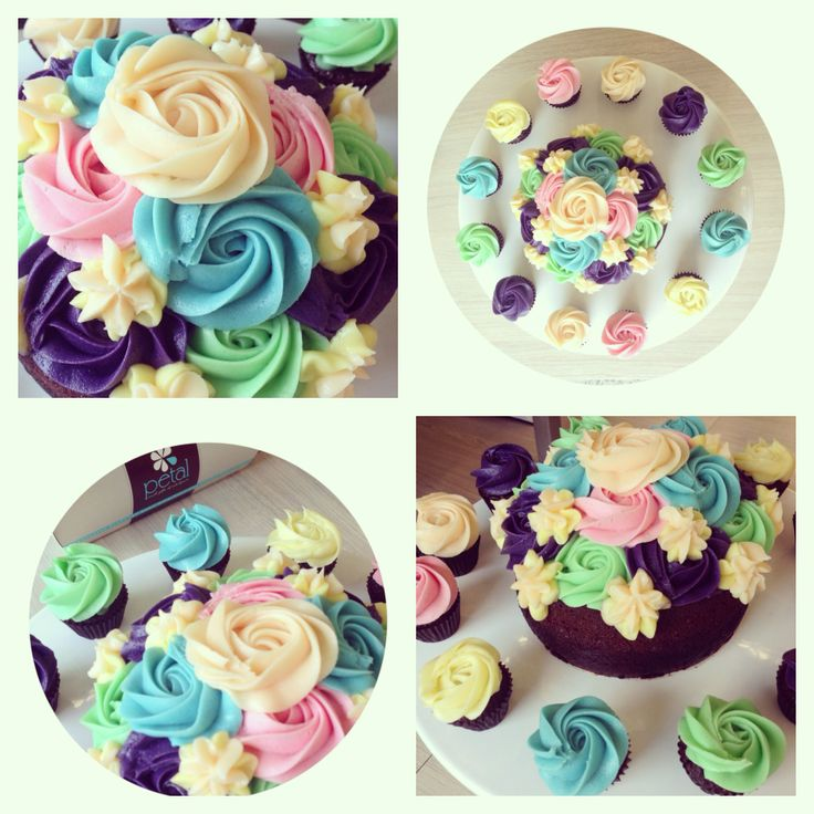 Petal Topcake - Vanilla Cake Sponge with Custom Pastel Coloured Vanilla Cream Cheese Icing #petalcupcakes [6 inches]