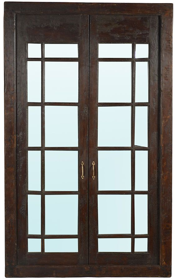 Old World Teak Door with Mirror Hand Crafted Brown Finish,48''L X 78''H #Unbranded