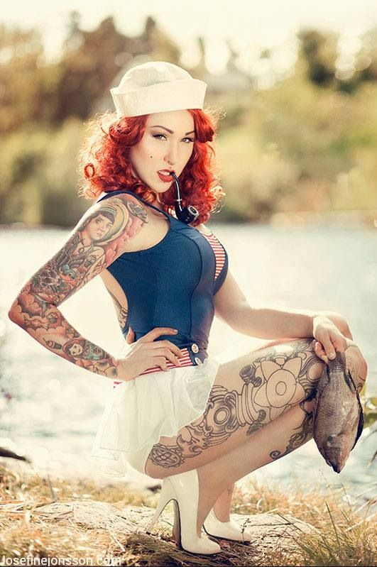 Rockabilly tattoo model beautiful people pinterest for Hot tattooed babes