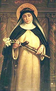 "St. Catherine of Siena. Philosopher, theologian, greatly respected for her spiritual writings and boldness to ""speak truth to power,"" and a Doctor of the Church."