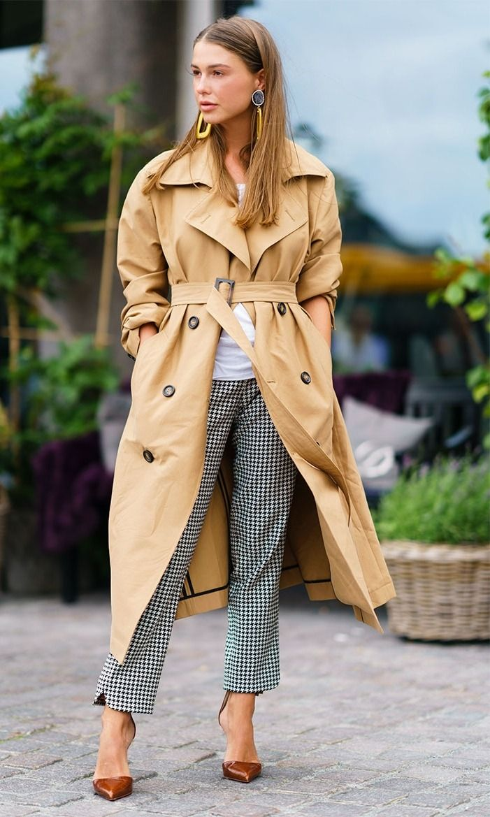 Copenhagen Fashion Week Street Style: camel trench coat, white tshirt, checkered trousers, and brown heels.