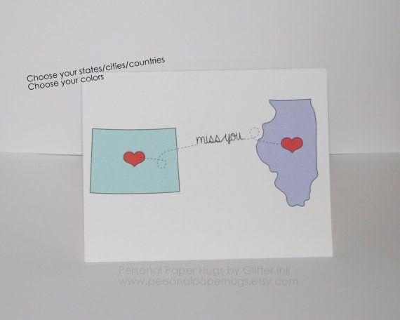 Larga distancia relación tarjeta - tarjeta de amistad de larga distancia - te extraño tarjetas - pensando en ti