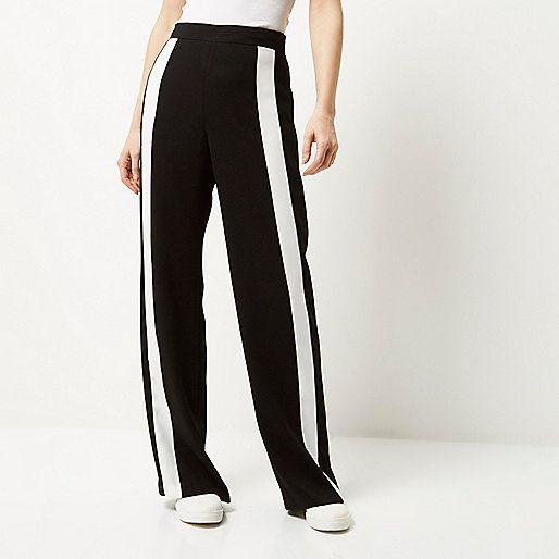 Zwarte broek met streep opzij en wijde pijpen - broeken met wijde pijpen - broek - dames