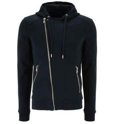 Veste droite zippée en molleton à capuche The Kooples Sport en bleu marine prix Veste Homme Galeries Lafayette 145.00 €