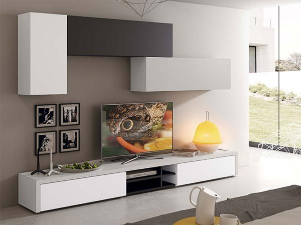 Contemporary and stylish TV unit and 3 wall cabinet composition in various finishes