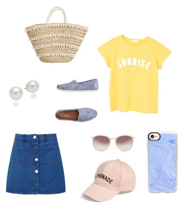 """SunriseSummer"" by hollyjollychic on Polyvore featuring Miss Selfridge, MANGO, Linda Farrow, Amici Accessories, AK Anne Klein, Casetify and TOMS"