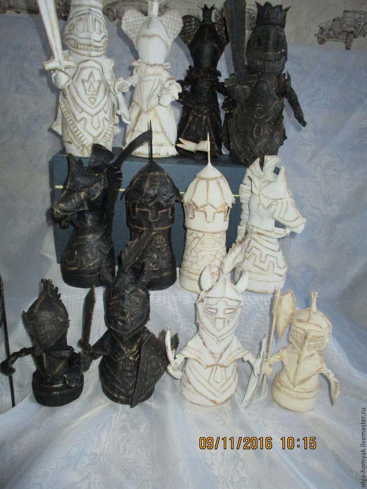 Купить Шахматные фигуры - текстильная игрушка, бязь, холофайбер, акриловые краски, лак, бязь, холофайбер