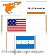 north american flags and flagpoles