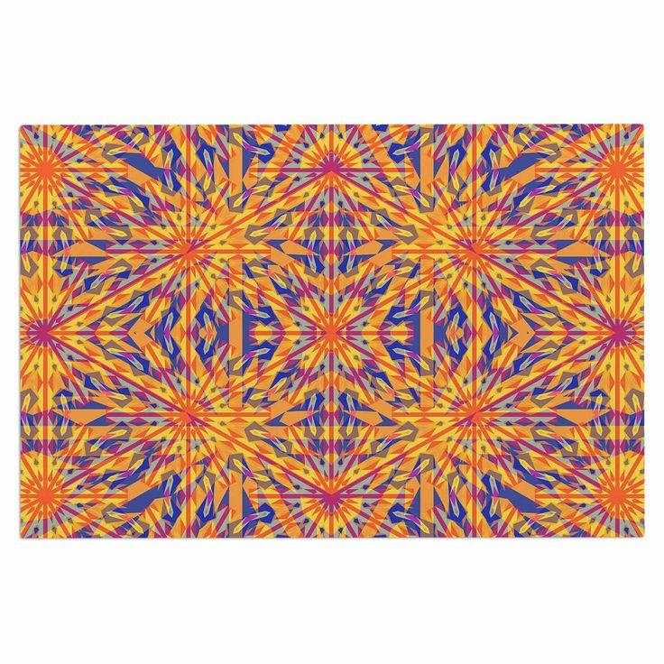 """Miranda Mol """"Azulejo Orange """" Orange Blue Decorative Door Mat"""