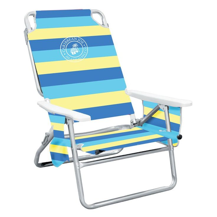 Caribbean Joe 5-Position Striped Folding Low Beach Chair - CJ-7750BY