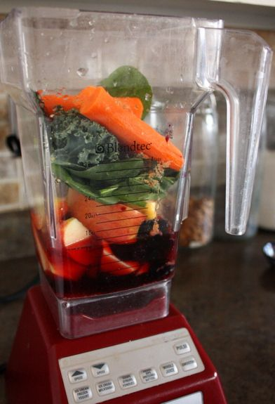 A daily smoothie recipe in the form of veggies and fruits.  Kale, spinach, blueberries, carrots and more.  A billion and a half vitamins too