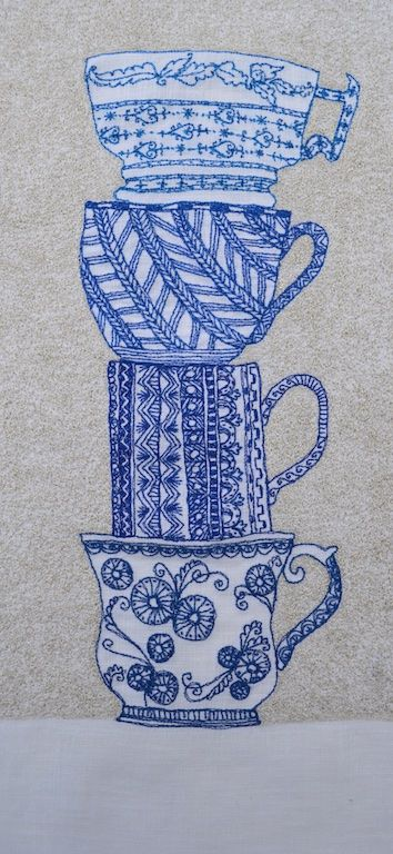 "BLUE STACKED CUPS by Saskia Wassing  2014 hand & free machine embroidery on linen  13"" x 6"" this piece was creating after drawing cups in the V&A collection.I then added patterns from other drawings I did of patterns on ceramics and textiles that inspired me."