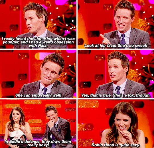 When Eddie Redmayne and Anna Kendrick both revealed that they had crushes on cartoon characters as kids.