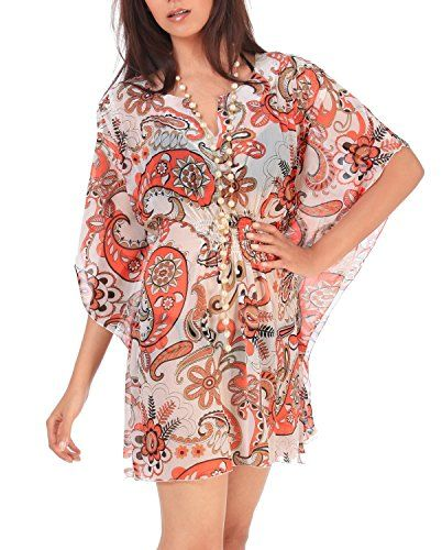 La Leela Super Lightweight Chiffon Dancing Paisley Swim Cover Up Dress Orange. Do YOU want COVER UPS in other colors Like Red | Pink | Orange | Violet | Purple | Yellow | Green | Turquoise | Blue | Teal | Black | Grey | White | Maroon | Brown | Mustard | Navy ,Please click on BRAND NAME LA LEELA above TITLE OR Search for LA LEELA in Search Bar of Amazon. STRETCHABLE Elastic gives YOU an ADJUSTABLE and COMFORTABLE Fit. US SIZE : From Regular 10 (M) TO 14 (L) ➤ UK SIZE : FROM REGULAR 14 (M) TO…