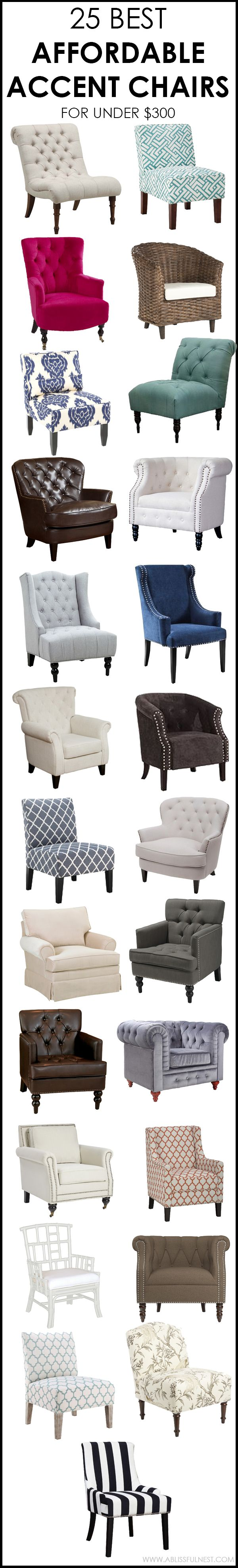 The most affordable accent chairs under $300 full of style and the perfect piece for your room. via ablissfulnest.com