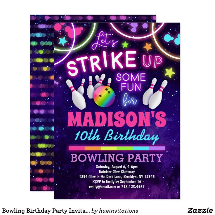 Bowling Birthday Party Invitation for Girls. #ad #birthdayinvitation – Birthday Invitations
