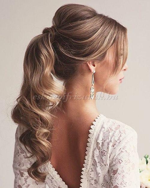 esküvői frizurák hosszú hajból - lófarok esküvőre
