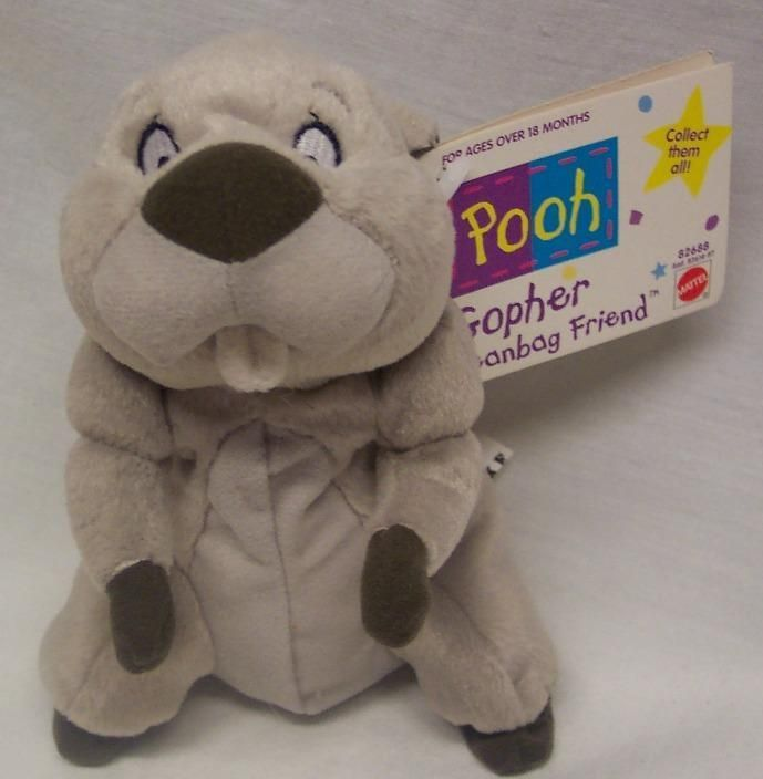 Walt Disney Winnie The Pooh GOPHER 6 Bean Bag STUFFED ANIMAL Toy Mattel NEW