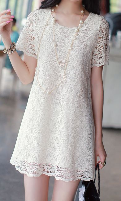 Embroidered hollow-out short-sleeved lace dress.. Another lace dress. I like this too. Because white is a nice color for me and I have the monochorme fever, so, it's perfect :)