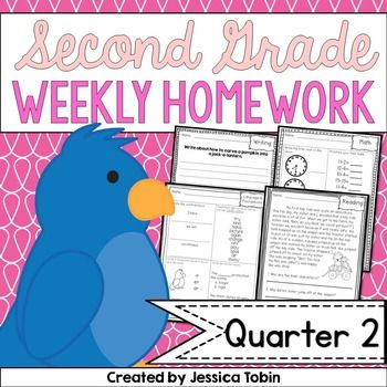 2nd Grade Homework 2nd Quarter-This set of homework includes nine weeks of homework packs. Each weekly homework set comes with an assignment sheet and four pages of homework (Math, Language/Foundations, Reading, and Writing). This set is for second quarter.