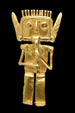 Flautista Tolima, Colombia. Gold statuette 1200 B.C.