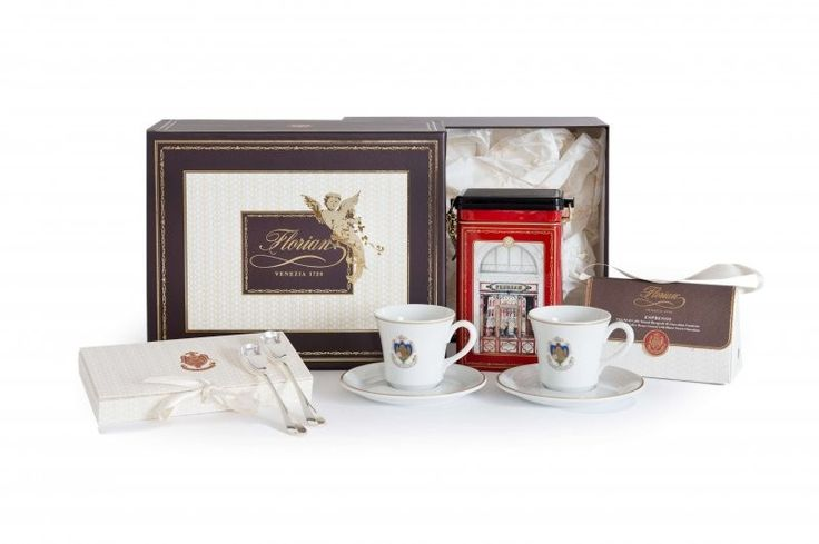 "Caffè al Florian A stylish moment of pure relaxation to enjoy the Florian experience.  The hamper includes:  - 2 Florian ""Venezia 1720"" blend roasted ground coffees 250 gr in tin  - 2 Florian espresso porcelain cups and saucers  - 1 Silverplated coffeespoons set with the Florian logo  - 1 Espresso dragées 50 gr"