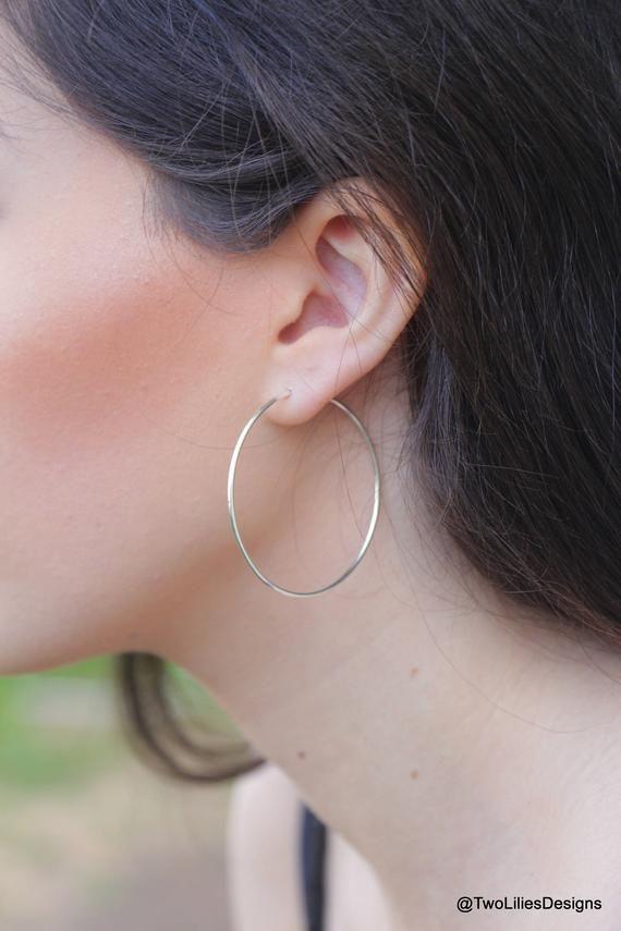 9b8aa463c Silver Hoop Earrings, Medium Large Boho hoop Earrings, Sterling Silver Hoops,  Simple Hoop Earrings,
