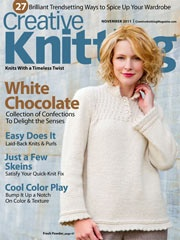 This November 2011 issue gives you full-color photos, complete instructions, and how-to articles and techniques, all direct to you from our knit-loving editors. Make the most of those hard-to-come-by knitting moments with designs in appealing colors, guaranteed to be as much fun to stitch as they are to use (or give as thoughtful gifts!)