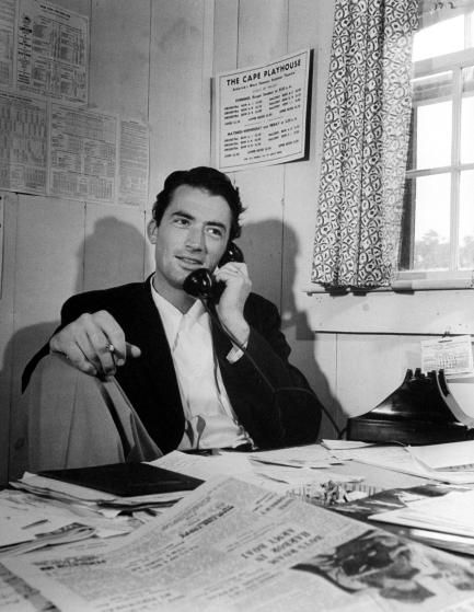 Peck talks on the telephone during Summer Stock in Cape Cod, 1946.