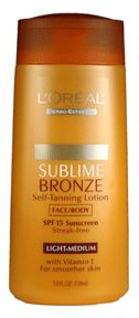 Loreal Body-Expertise sublime bronze self tanning lotion, medium natural tan, spf 15 - 5 oz | LOreal | Creams and Lotions | L'oreal Hair Care Div.