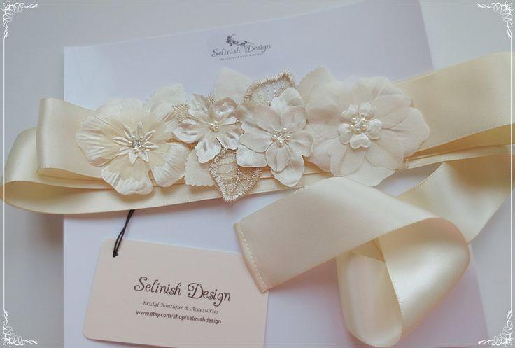 Flower Wedding Sash, Flower Sash, Bridal Sash, Cream ivory Sash Belt, Floral Sash, Dress Sash, Ivory Flower Belt- code: SB157beige by SelinishDesign on Etsy