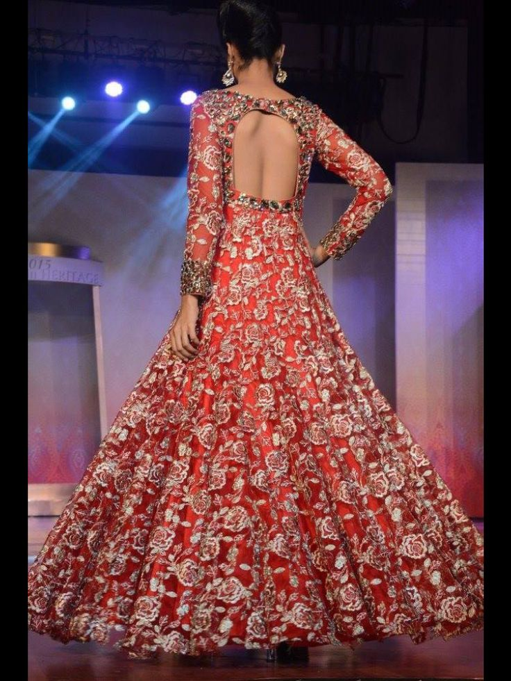 Red gown on net with all over resham and kasab work with gold stones only at manish reshamwala fashion studio, 9879568040