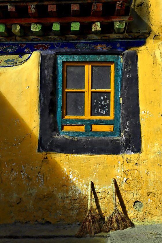 via Images of Tibet - bright yellow wall | Tibet