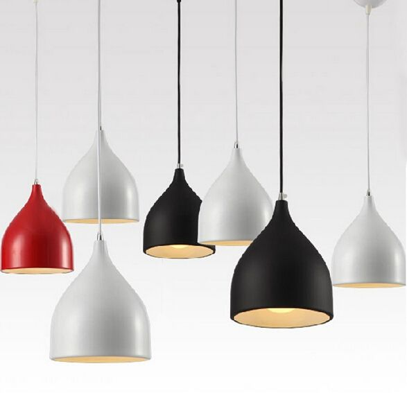 48.99$  Watch here - http://alitmb.shopchina.info/go.php?t=32334018654 - modern brief white/black/red pendant lights led e27 aluminum creative cup trumpet Pendant Lamp for living room dining room 1805  #buychinaproducts