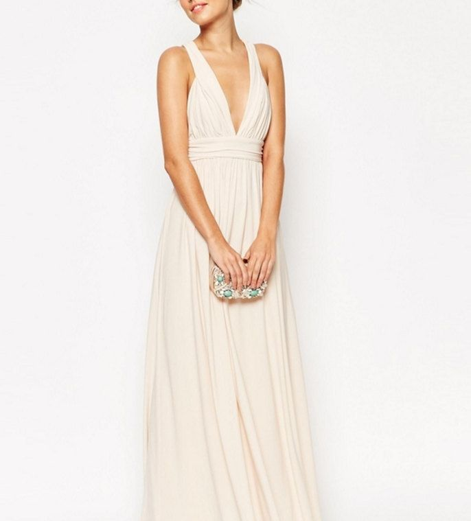 Beige Bridesmaid Dress Long Mint Bridesmaid by LaurelBloomsLabel