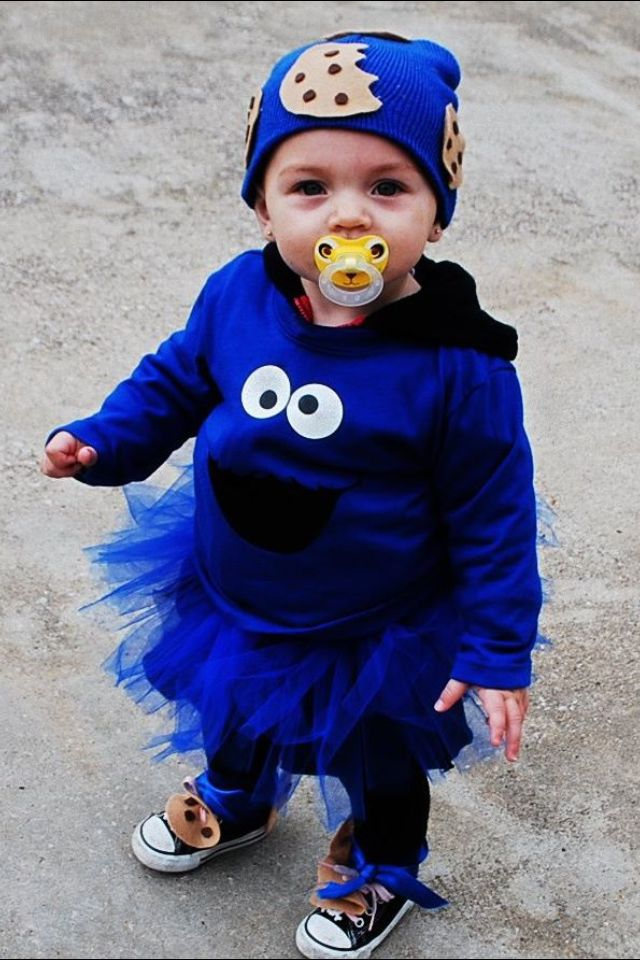 Homemade cookie monster costume.
