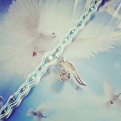 Blue, white and silver soutache bracelet