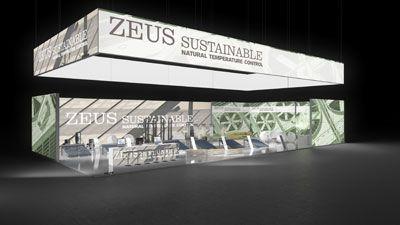 448 Heizungsanlagen Zeus Sustainable   Auffallender Messestand für einen Heizungsanlagenhersteller.   Das umlaufend bedruckte Deckenring des großen Eckstands ist ein Hingucker und macht d...