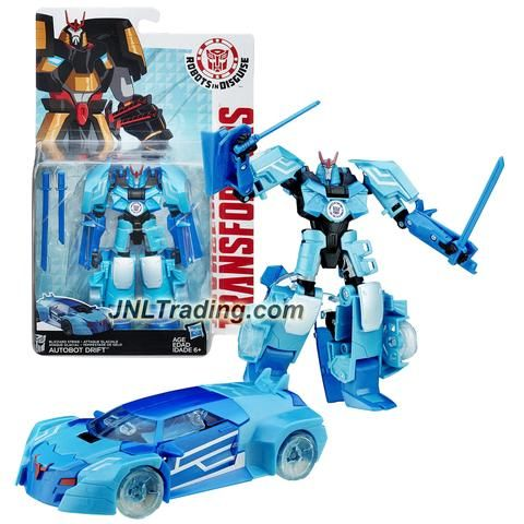 """Hasbro Year 2015 Transformers Robots in Disguise Warrior Class 5-1/2"""" Tall Figure - Blizzard Strike AUTOBOT DRIFT with Swords (Vehicle: Sports Car)"""