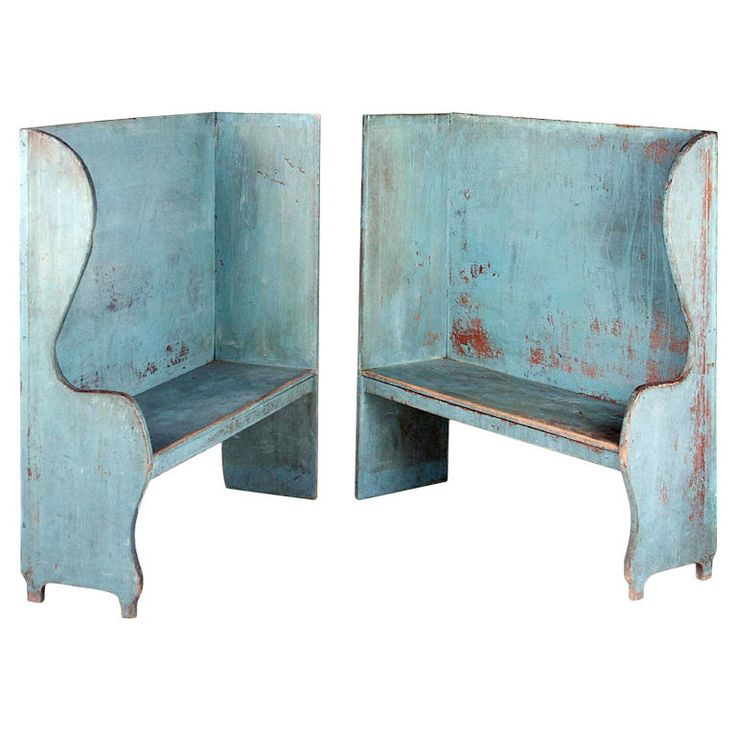 PAIR OF ROBIN'S EGG BLUE-PAINTED BENCHES FROM A PORTICO ON AN 1890'S HOME IN CAANAN, NEW YORK